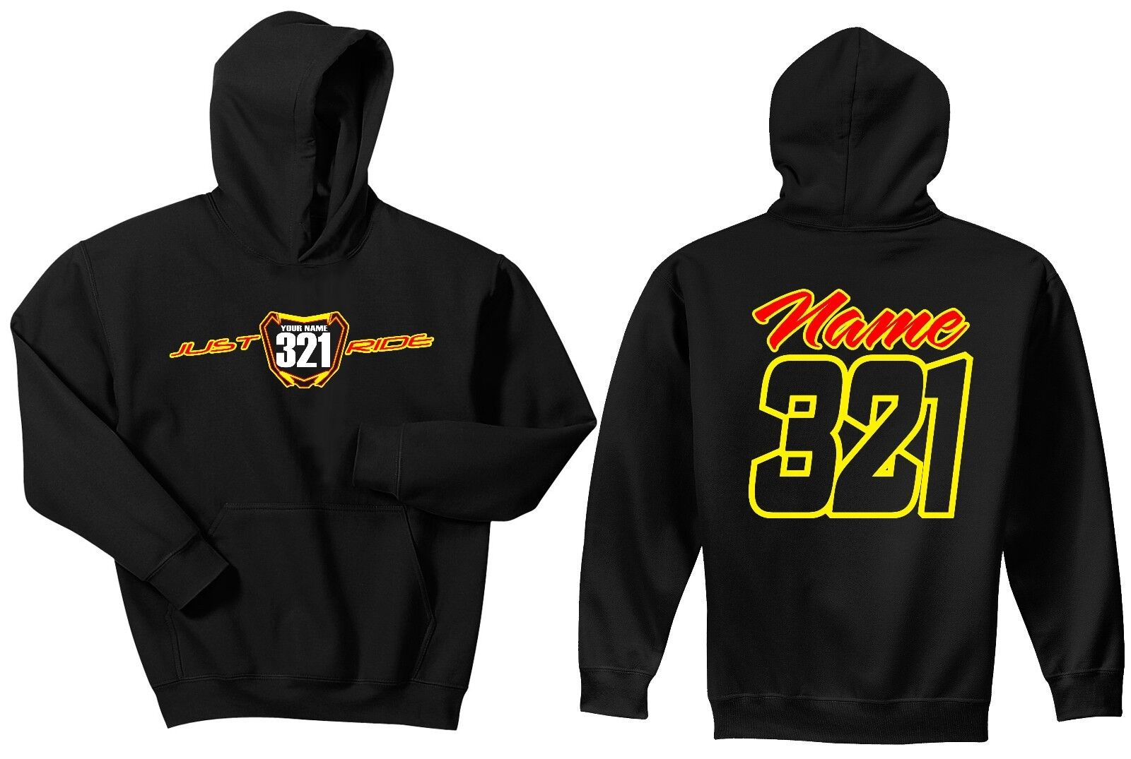 JUST RIDE CUSTOM NUMBER PLATE HOODIE SWEAT SHIRT MX MOTOCROSS RM RM-Z SUZUKI DRZ