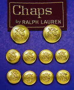 10 CHAPS BY RALPH LAUREN EQUESTRIAN JACKET REPLACEMENT BUTTONS GOOD USED COND.