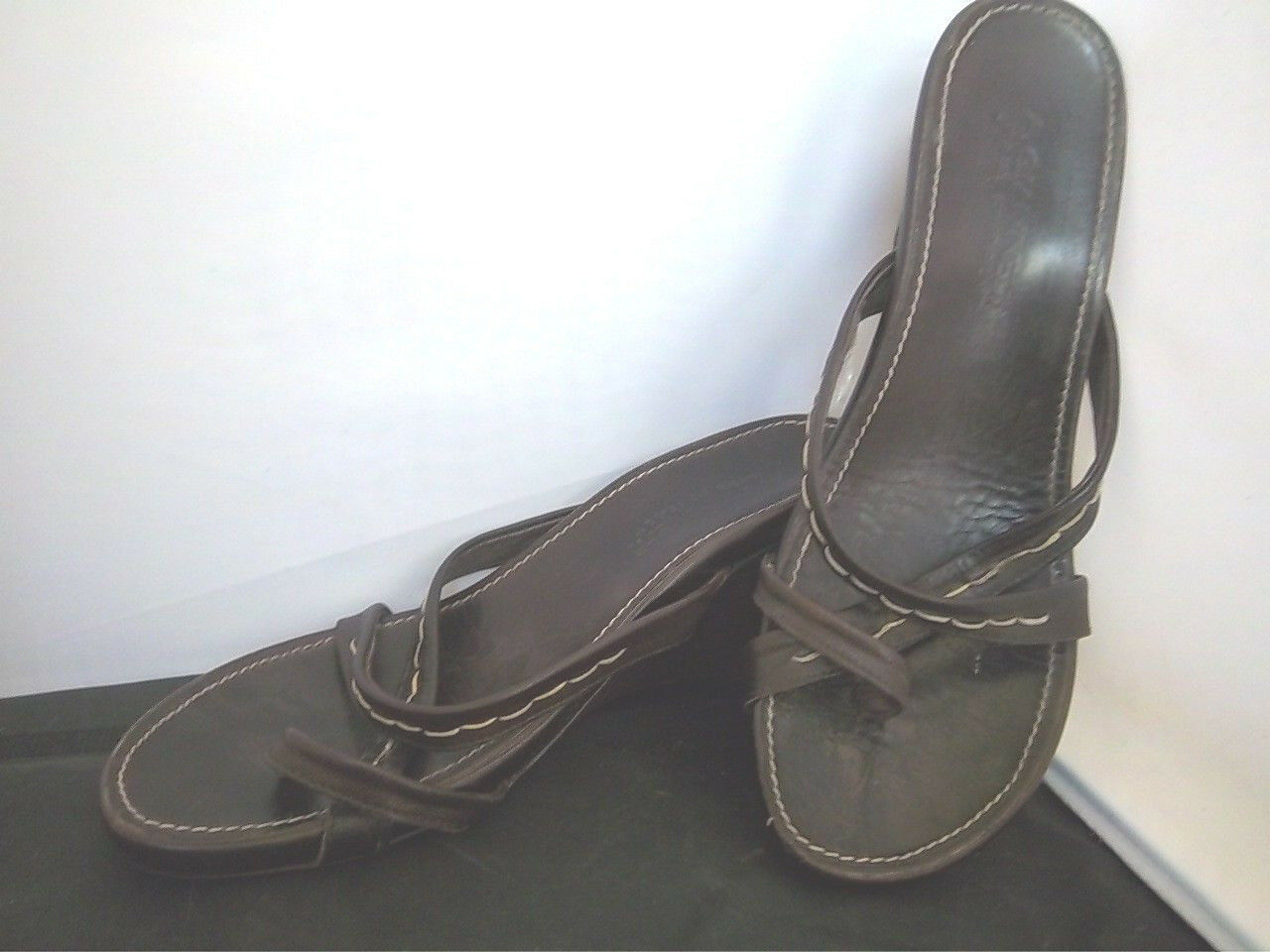 A.GIANNETTI-Women's Brown Leather Toe Wedge Loop Strappy Slip On Wedge Toe Sandals-SIZE 10 c8fcf7