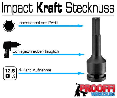 3 x INBUS Kraft Schlagschrauber Stecknuss 6mm 7mm 8mm Innensechskant Nuss Lang