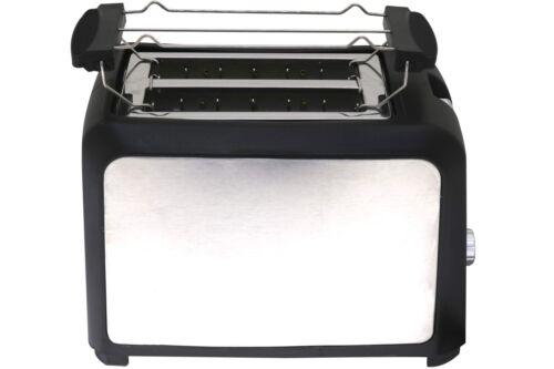 Toaster DESKI Edelstahl schwarz 750 W 2 Scheiben Krümelschublade Brötchenaufsatz