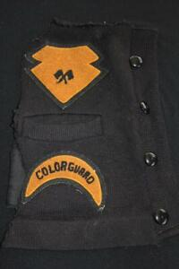 VINTAGE-1950-039-S-SCHOOL-SWEATER-BLACK-AND-GOLD-PATCHES-5-034-X-5-034-AND-5-034-X-3-034