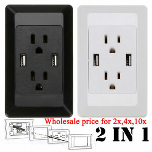 50x-Dual-USB-Port-Wall-Socket-Charger-AC-Power-Receptacle-Outlet-Plate-Panel-Lot