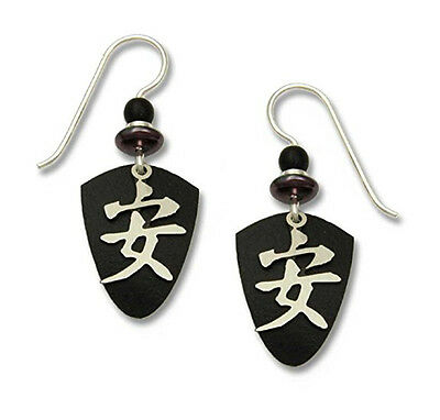 Adajio-Chinese-TRANQUILITY-Character-EARRINGS-Black-Shield-STERLING-7046-Box
