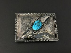 Vintage Southwestern Stampwork Turquoise Sterling Silver Box