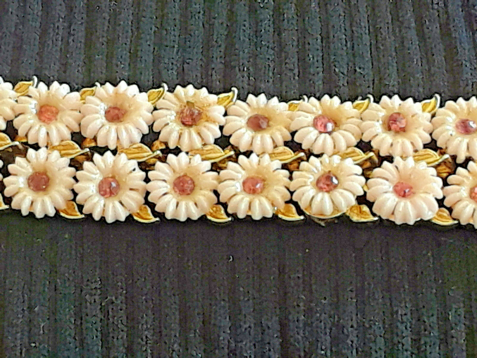Vintage Signed Longcraft Double Row Pink Daisy Chain with Rhinestones Bracelet