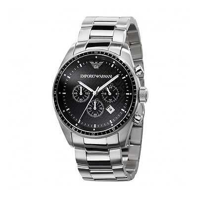 NEW EMPORIO ARMANI AR0585 STEEL MENS CHRONOGRAPH WATCH - 2 YEAR WARRANTY