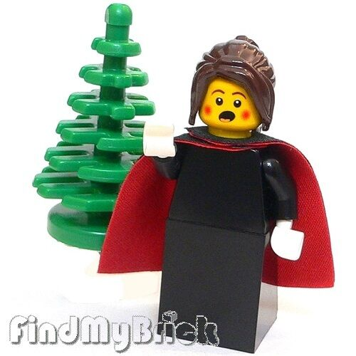 M330 Lego Winter Toy Shop Caroler Female Minifigure and Christmas Tree 10199 NEW