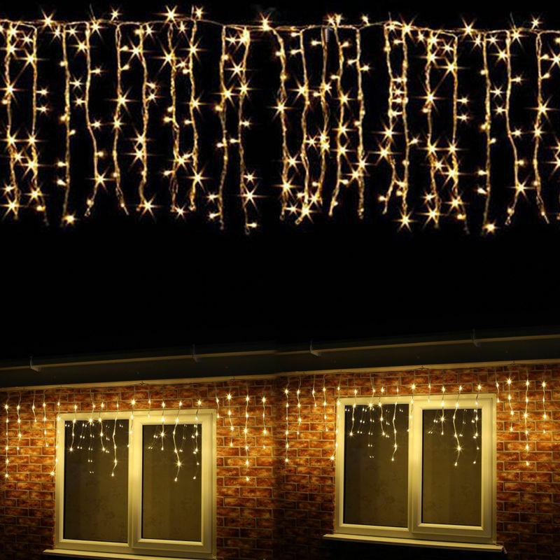 hanging icicle curtain string light xmas party decor warm white ebay. Black Bedroom Furniture Sets. Home Design Ideas