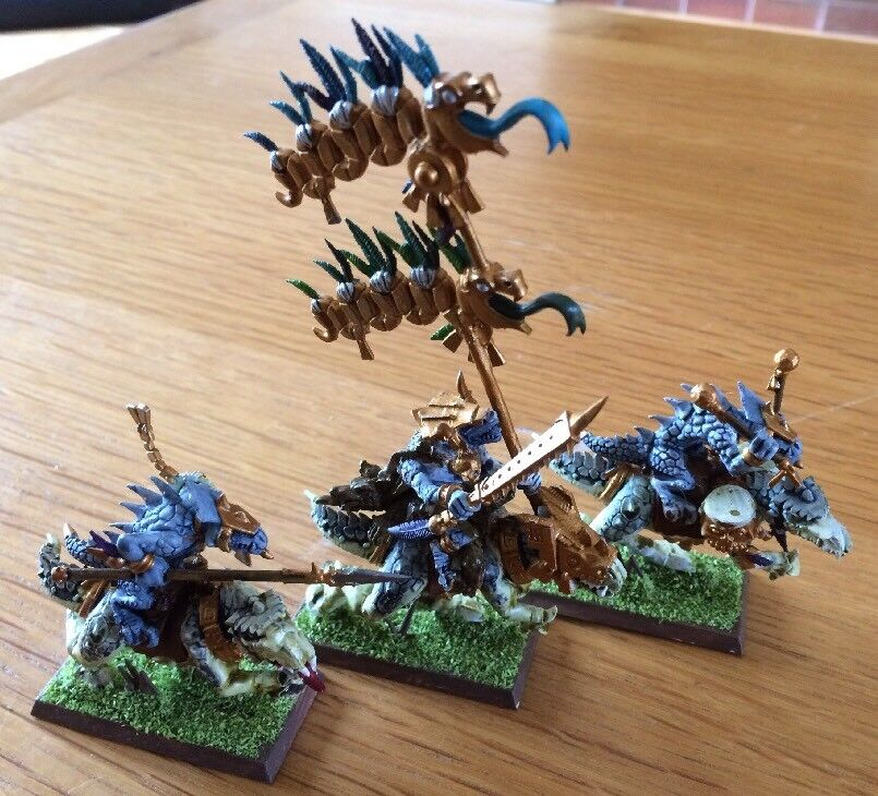 Warhammer AOS Seraphon Saurus Knights Cold Ones Miniatures Lot Of 3 PRO Painted