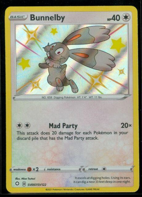 Pokemon SHINY BUNNELBY SV097/SV122 Shining Fates RARE HOLO - MINT