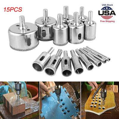 15PCS//Bag Diamond 6-50mm Hole Saw Tile Ceramic Glass Porcelain Marble Drill Bit