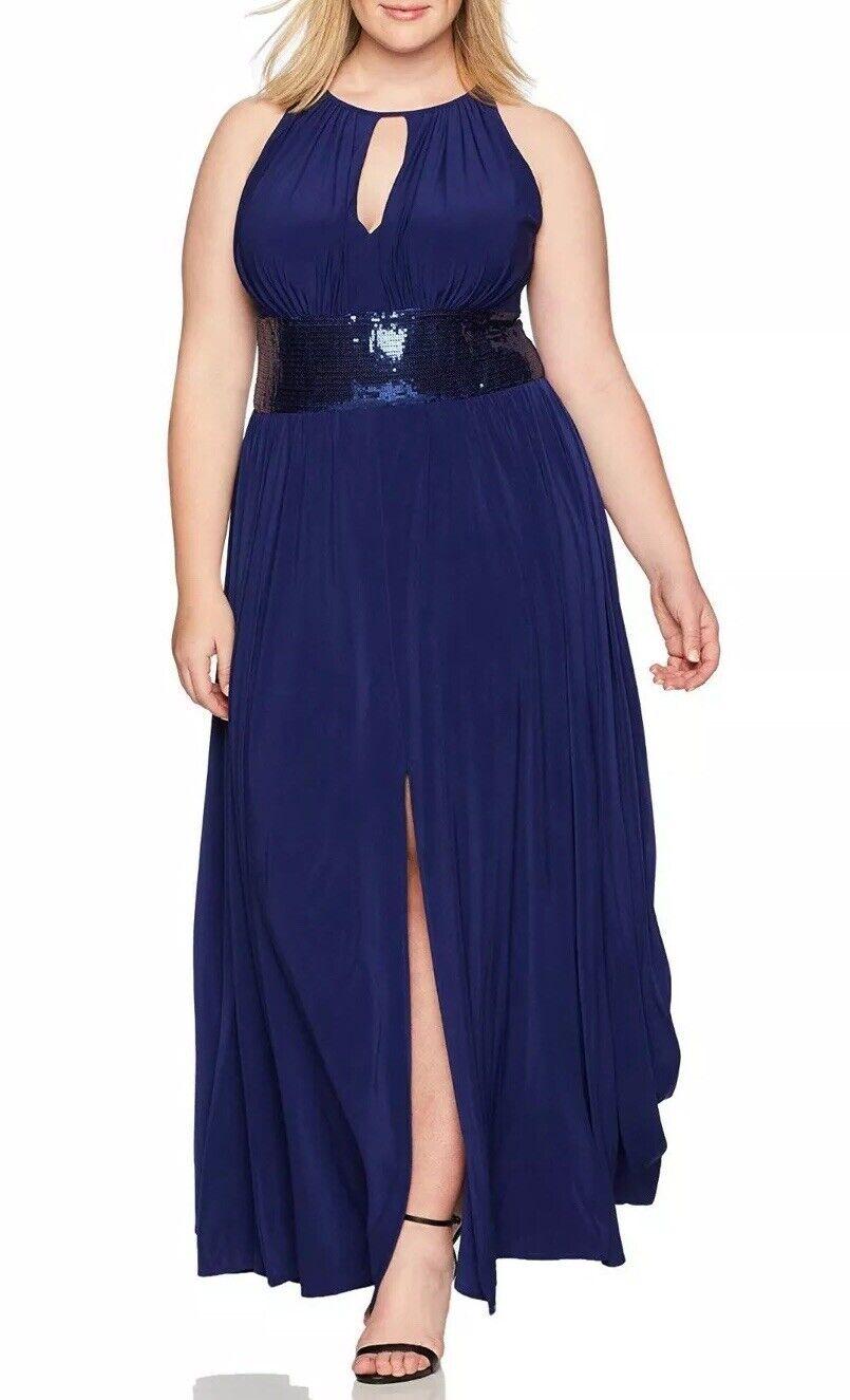 R&M Richards Halter Dress Woman's 16 Evening Sleeveless Sequin Waist Formal W35