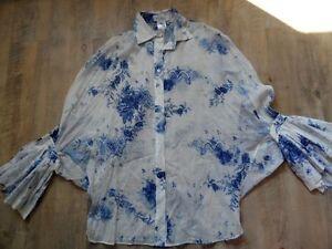 Volants Beautiful Style Blouse 2 Bleu Shogun Poncho Sz M Kos817 Paul Blanc joe nouveaux gYqaRR
