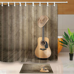 Image Is Loading Violin And Western Cowboy Shower Curtain Set Wooden
