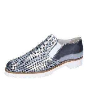 Chaussures Femme VSL 38 Ue Mocassins à Enfiler Argenté Cuir Brillant BS63-38