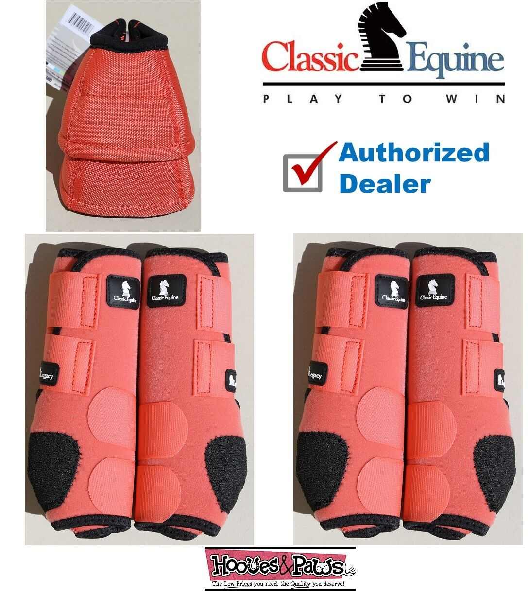 CLASSIC EQUINE Front Rear Legacy MEDIUM Coral Horse Sport Leg No Turn Bell stivali