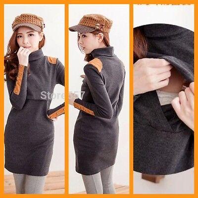 New Turtle Neck Maternity Breastfeeding Nursing Jumper Dress Size 8 10 12 14