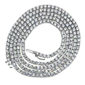 4MM CZ 1 Row Tennis Iced Out Chain Hip Hop Gold Necklace Bling Bling