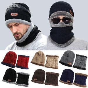 Men-Women-Winter-Warm-Beanie-Hat-Hat-Scarf-Set-Warm-Knit-Thick-Fleece-Lined-Caps