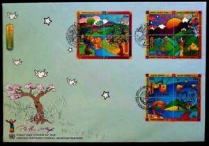 [SJ] United Nations Peter Max Earth Summit 1997 Park Tree Flower Rainbow (FDC)