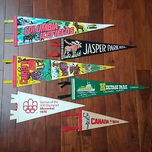 Lot-of-6-Vintage-Alberta-Montreal-Canada-Pennant-Felt-Leather-Banner-40s-60s-70s