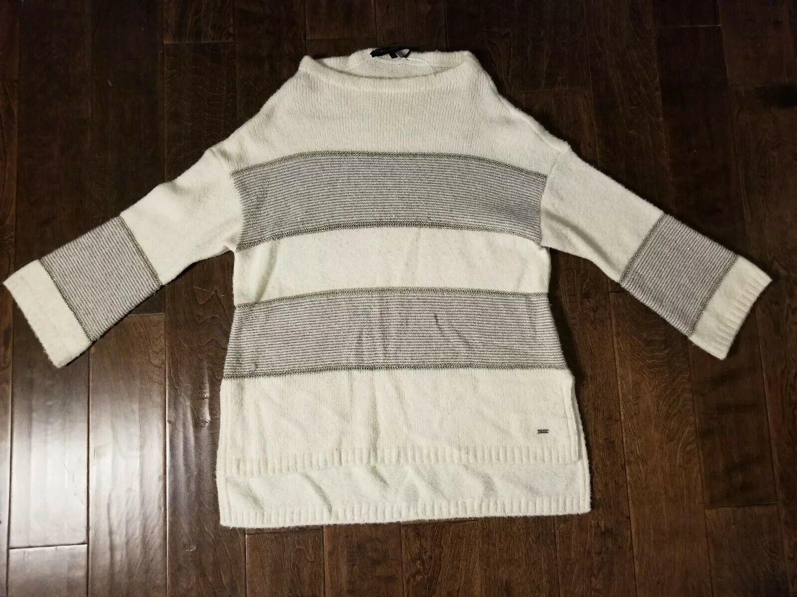 New Women's ST.JOHN Ivory Striped Cashmere Blend Sweater size L