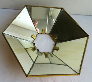 """Réflecteur hexagonal Art Déco pour lampe à pétrole, armature laiton et 6 miroirs - France - Commentaires du vendeur : """"Bon état."""" - France"""