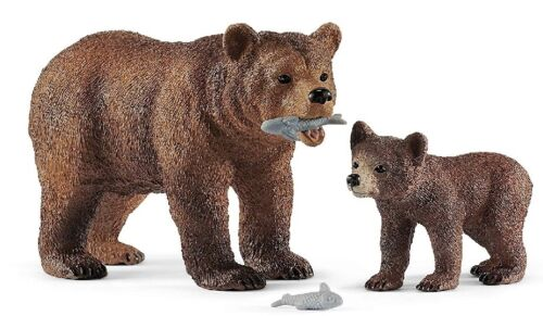 Figurine de l/'univers des animaux sauvages Maman Grizzly avec ourso SHL42473
