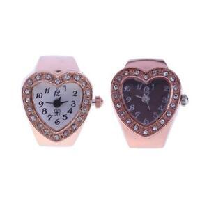 Heart-Shape-Finger-Ring-Watch-Elastic-Rhinestone-Women-Finger-Ring-Watches-UK
