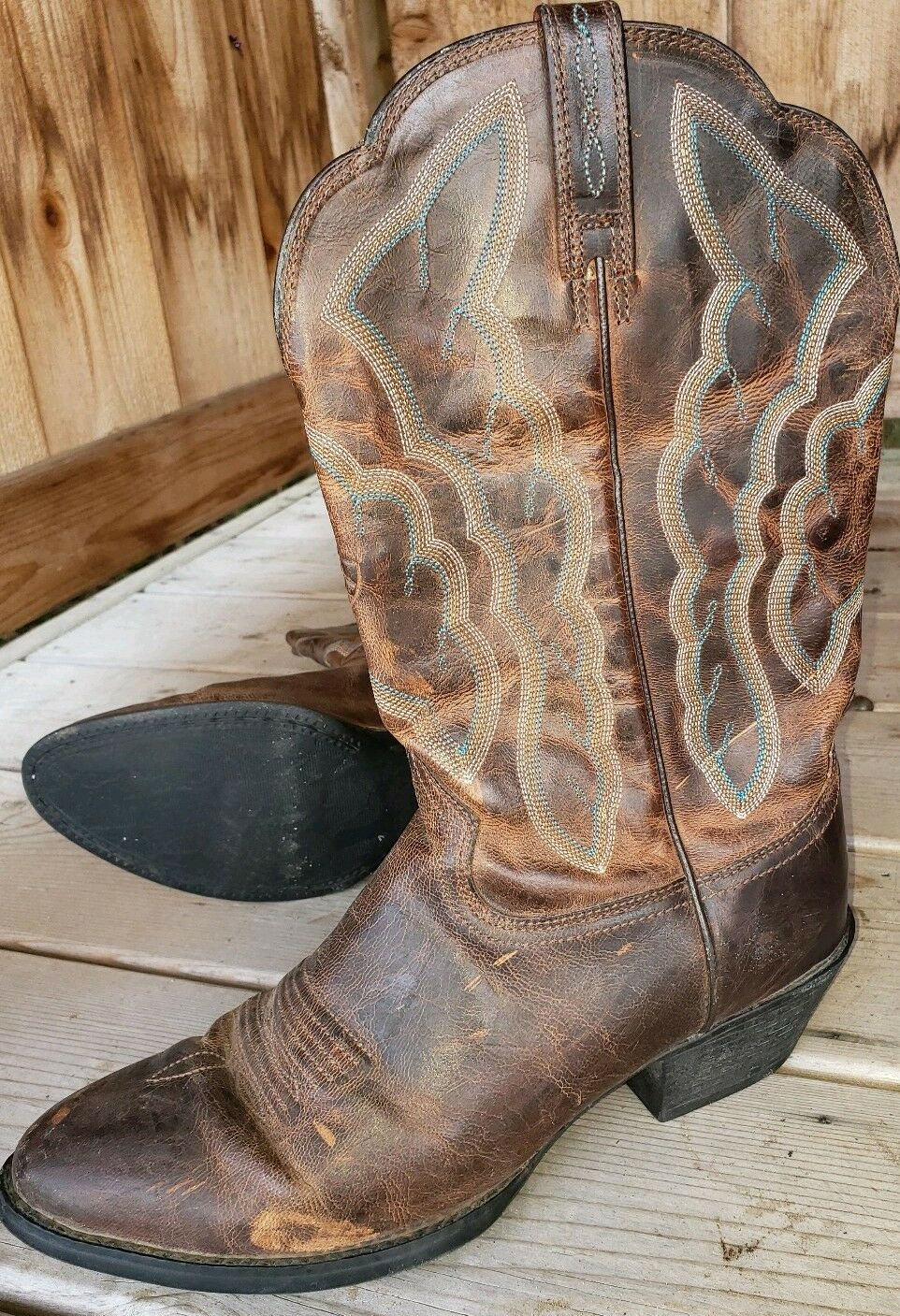 Womens Womens Womens Ariat Brown Leather Embroider Stitch Cowboy Boots 8 B Very Good Used Cond 4b9213