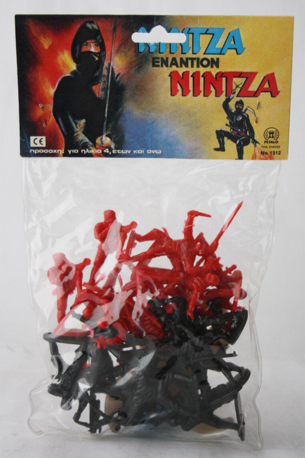 VERY RARE VINTAGE 80'S NINJA GREEK PLASTIC FIGURES PETALO GREECE NEW MIP