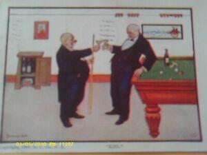1907-ULLMAN-POSTCARD-BILLIARDS-POOL-TABLE-MEN-DRINKING-ARTIST-SIGNED-WALL