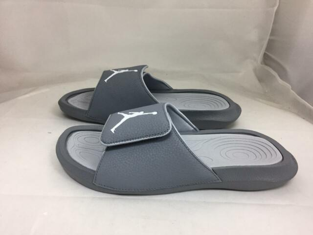 check out 9b7a9 fd1dc Nike Jordan Hydro 6 Slides Sandals Adjustable Cool Grey White Mens Size 11