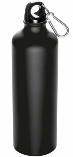 Nr.124 Feelino 800ml Metall-Trinkflasche SCHWARZ mit Karabinerhaken