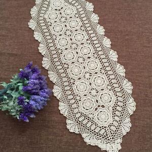 Vintage-Table-Runner-Dresser-Scarf-Oval-Crochet-Lace-Doily-Wedding-15-034-x59-034-Ecru