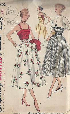 """Top Bolero /& Kummerbund 1950 Vintage Näh Muster B30 /"""" Rock R333"""
