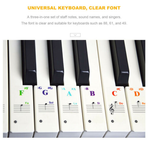 54 Colorful Music Keyboard Piano Stickers For 49 61or 88-KEY Piano Removable
