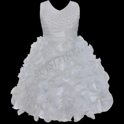 92-140 Kinder Rüschen Hochzeit Taufe Blumen Mädchen Kommunion Fest Kleid Gr
