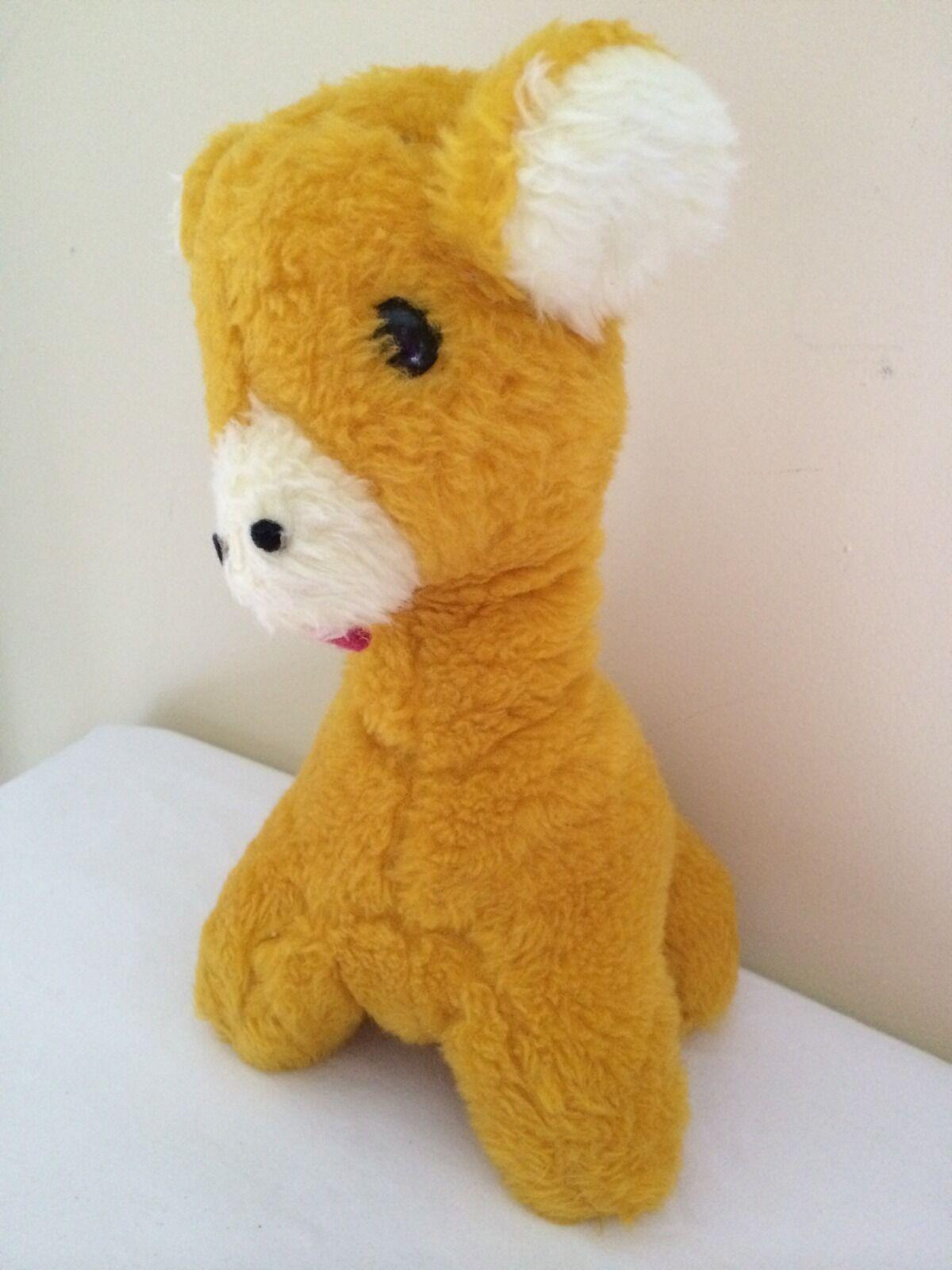 Vintage 1976 Animal Fair Inc. Giraffe Rattle Orange Stuffed Animal Toy 12