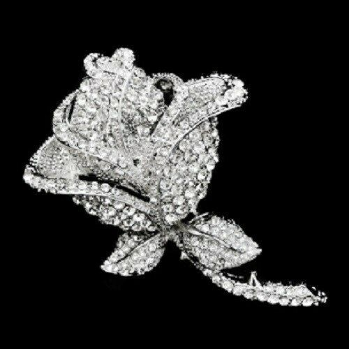 NEW! Single Crystal Rose Vintage Brooch/Ideal Gift