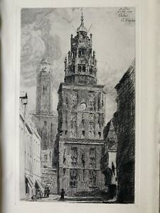 Arthur mayeur strong water engraving etching the belfry and old Calais 1900