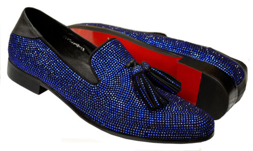 Fiesso Black Royal Blue Shiny Stones Leather Tassels Party Loafers FI7285-2