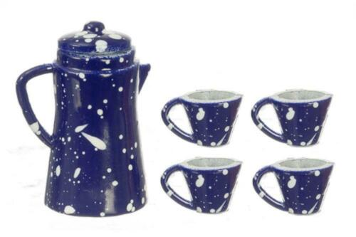 Dolls House Blue SPOT Caffettiera Tazze /& Accessorio da cucina in miniatura