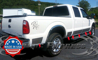 1999-2010 Ford F-250//F-350 Crew Cab Short Bed Chrome Rocker Panel Trim 10 1//2/""