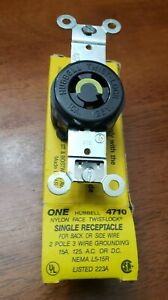 Hubbell Receptacle Duplex Twist Lock 15A 125V NOS 75806 Free USA Shipping