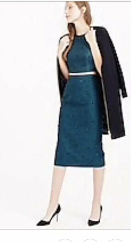 Nwt J. Crew Collection Deep Harbor Beaded Pencil Skirt Turquois 8  389