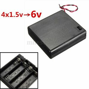 4 x AA 6V Battery Holder Connector Storage Case Box ON/OFF Switch With Lead