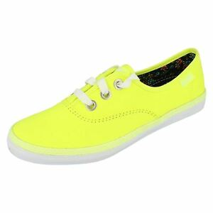 62dd637b6f6 Details about LADIES KEDS ROOKIE NEON YELLOW LACE UP PUMPS WF46418