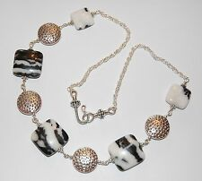 Pretty Black White ZEBRA JASPER Gemstone & Tibetan Silver Chain NECKLACE